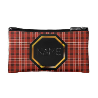 Customisable Red Plaid Cosmetics Bag
