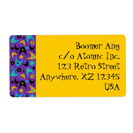 Customisable Retro Boomerangs Shipping Label