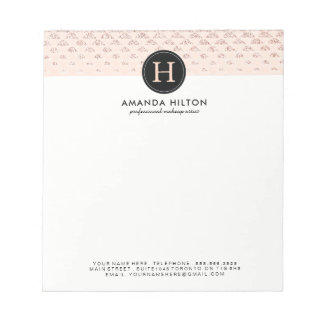 Customisable Rose Gold Glitter Note Pad
