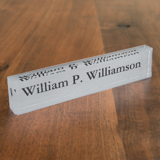 Customisable Silver Background Nameplate