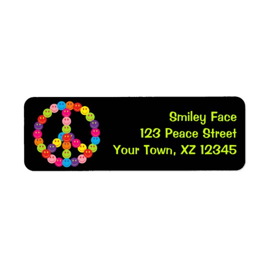 Customisable Smiley Peace Return Address Label