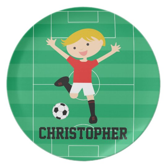 Customisable Soccer Boy 1 Red and White Plate