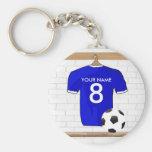 Customisable Soccer Jersey (blue) Keychain