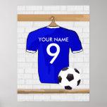 Customisable Soccer Shirt (blue) Poster