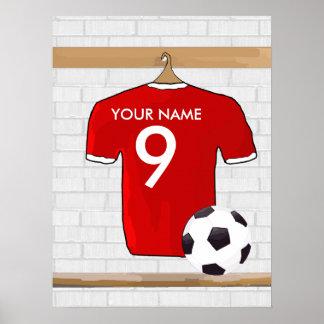 Customisable Soccer Shirt (red) Poster