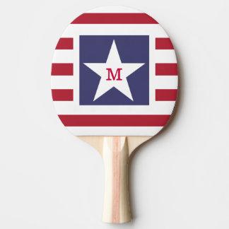 Customisable Stars and Stripes USA Momogram Ping Pong Paddle
