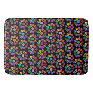 Customisable Sugar Skull Flowers Bath Mat