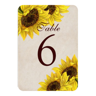 Customisable Sunflower Table Number Cards