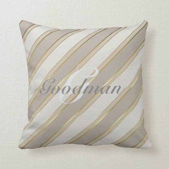 Customisable throw pillow neutral greys faux gold