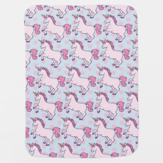 Customisable Unicorn and Hearts Pattern Baby Blanket