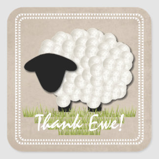 Customisable Unisex Little Lamb Thank You Stickers