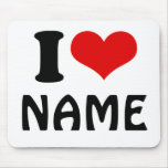 Customisable Valentines Day I love Heart Custom Mousemat