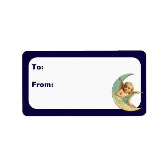 Customisable Vintage Cherub in Moon Address Label