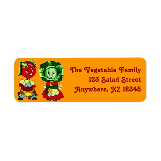 Customisable Vintage Vegetable Couple Return Address Label