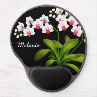 Customisable White Moth Orchid Floral Gel Mousepad