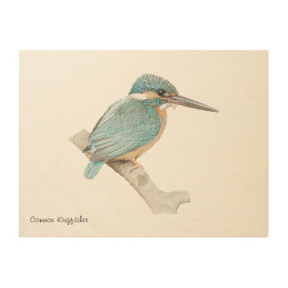 Customisable wood art with common kingfisher print