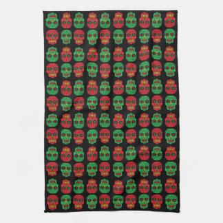 Customisable Xmas Sugar Skull Tea Towel