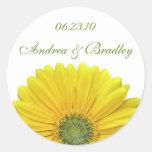 Customisable Yellow Gerbera Daisy Monogram Sticker