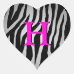 Customisable Zebra Heart Stickers