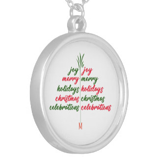 Customise Christmas-Festive-Tree Silver Plated Necklace