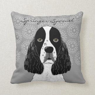 Customise English Springer Spaniel Dog on Grey Throw Pillow