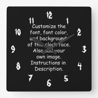 Customise Font, Font Colour, Background, Image Square Wall Clock