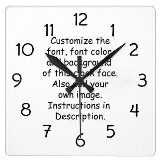 Customise Font, Font Colour, Background, Image Wallclocks