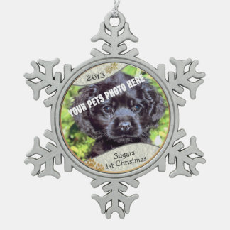 Customise it! - Puppys First Christmas Keepsake #2 Snowflake Pewter Christmas Ornament