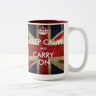Customise Keep Calm and Carry On Two-Tone Coffee Mug