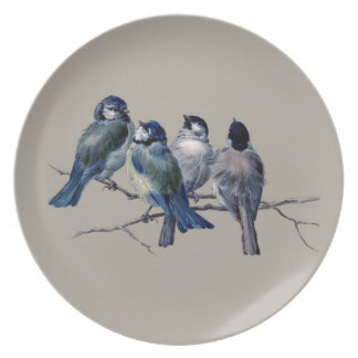 Customise lovely vintage art blue birds on branch plate