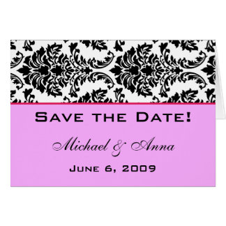 Customise Save The Date Baroque Black and Pink Greeting Card