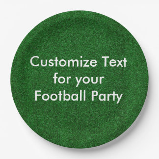 """Customise text on 9"""" paper plate/football turf paper plate"""