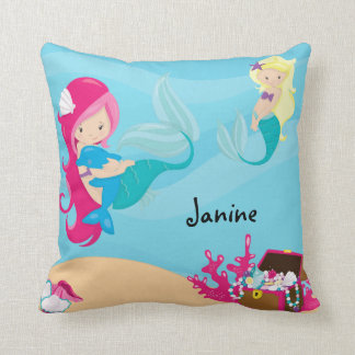 Customise This Pink Haired Mermaid With Porpoise Throw Pillow