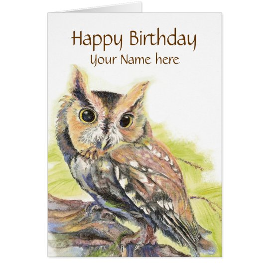 Customise with Name, Cute Owl Bird, Birthday Card