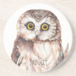 Customise with your Name Funny Owl - Bird, Nature Coaster