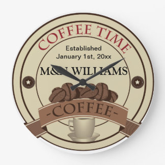 Customise Your Name Coffee Time Logo Large Clock