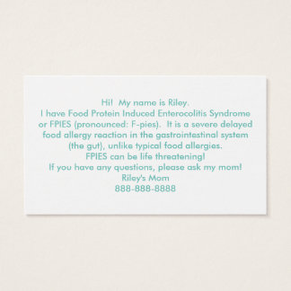 Customise Your Own Food Allergy Hand Out Cards