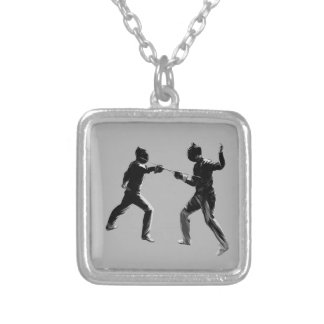 Customiseable Vintage fencing Gifts Silver Plated Necklace