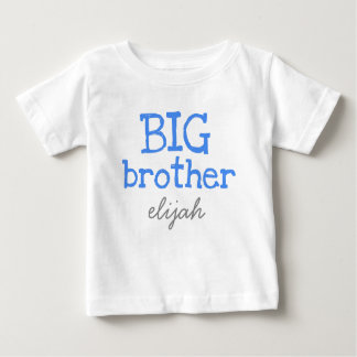 Customised Add a Name Blue Text Big Brother Baby T-Shirt