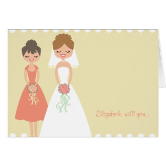 Customised Coral-Cream Be My Bridesmaid Cards