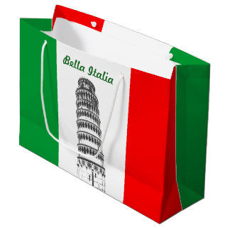 Customised Leaning Tower of Pisa and Italian Flag Large Gift Bag