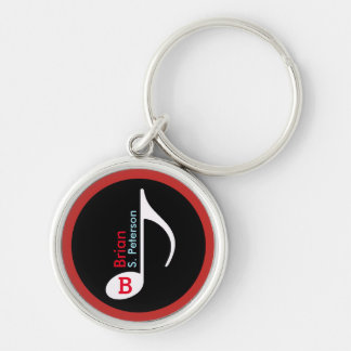 customised musical note red Silver-Colored round key ring