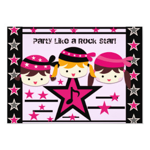 Customised Party Like a Rock Star Birthday Invite