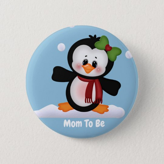 Customised Penguin Mum to Be Baby Shower Button