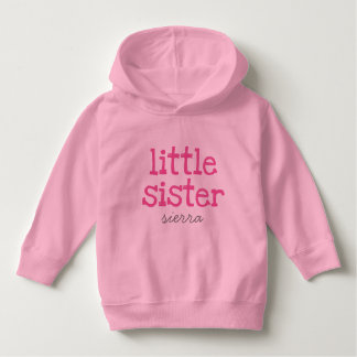 Customised Pink Text Little Sister Pullover Hoodie