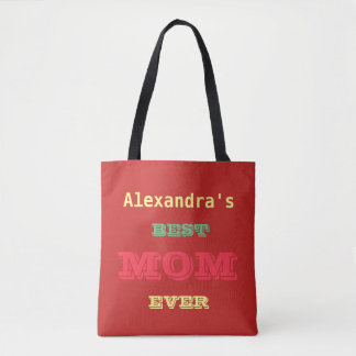Customised Red fun Best Mom Ever Tote Bag