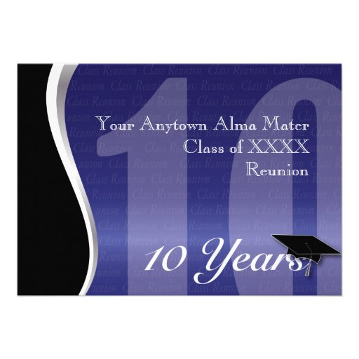 Customizable 10 Year Class Reunion Personalized Invites