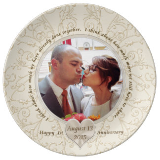 Customizable 1st Anniversary Gift Ideas for Her Porcelain Plate
