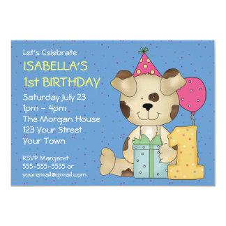 Customizable 1st Birthday Puppy Dog 13 Cm X 18 Cm Invitation Card