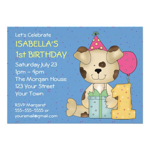 Customizable 1st Birthday Puppy Dog Custom Invitation